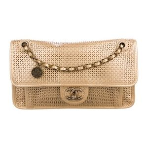 Chanel Gold Perforated Up In the Air Classic Flap